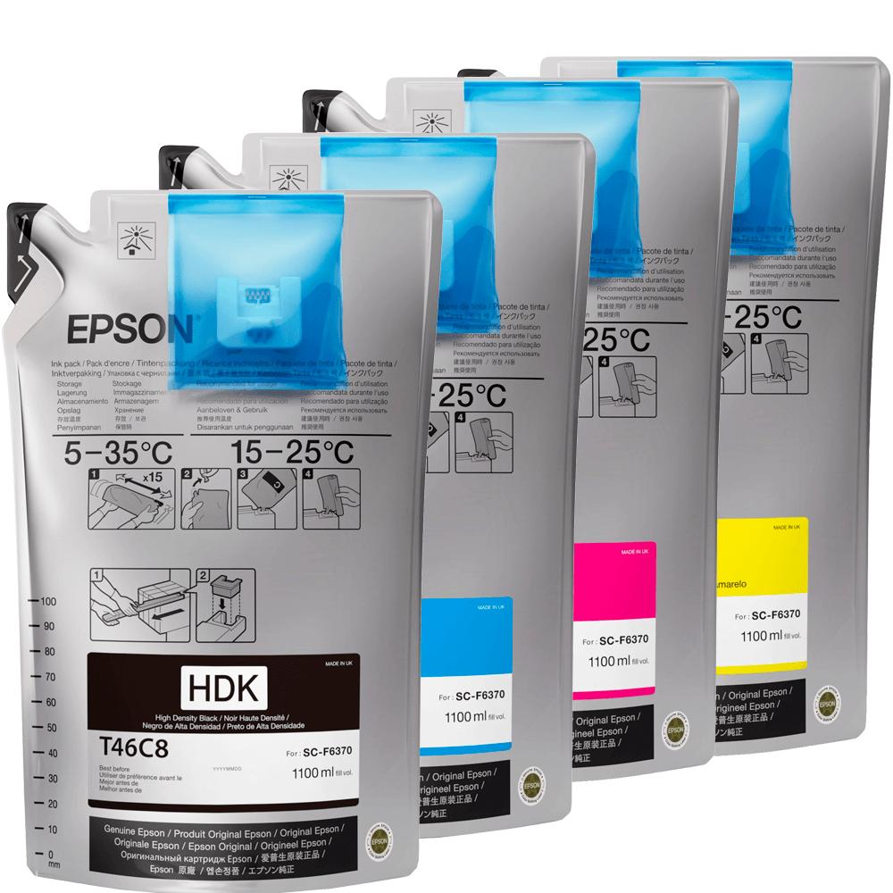 Kit Bag de Tinta Sublimática Epson T46C Magenta, Yellow, Ciano e HDK Black UltraChrome 1100 ml cada F6370 F9470 F9470H