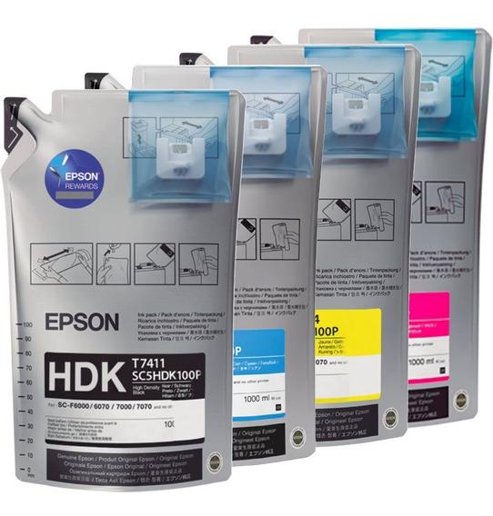 Kit Bag De Tinta Sublimática Epson T741 Magenta, Yellow, Ciano E HDK Black UltraChrome 1000 ml cada F7070 F7170 F9200 F9370 F6070 F7200 F6200