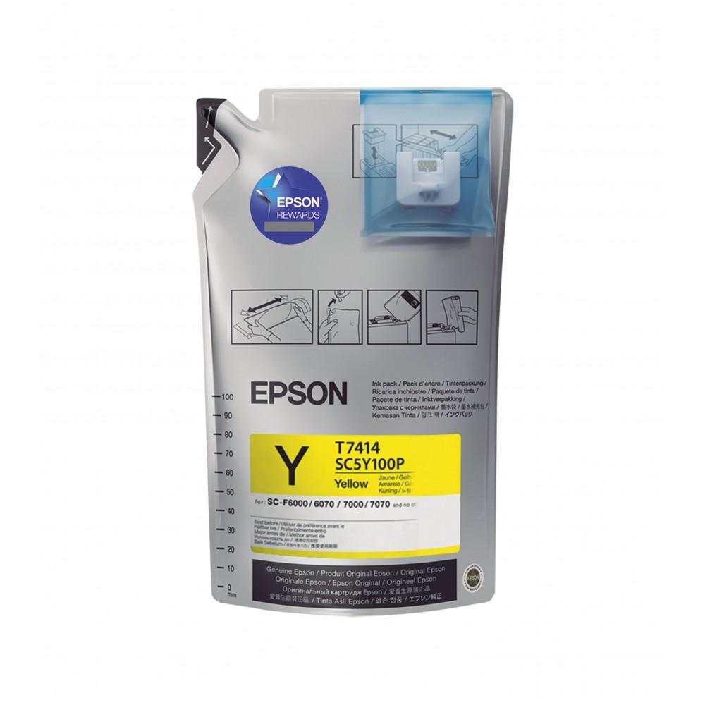 Bag De Tinta Sublimática Epson T7414 Yellow UltraChrome 1000 ml F7070 F7170 F9200 F9370 F6070 F7200 F6200