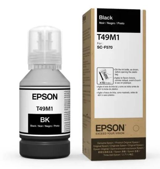 Garrafa Refil de Tinta Sublimática Epson UltraChrome DS 140ml Black T49M1 F570 F571 e F170